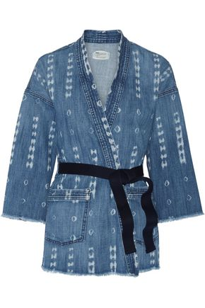 CURRENT/ELLIOTT The Kimono printed stretch-denim jacket