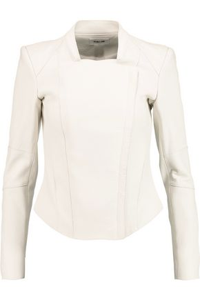 HELMUT LANG Asymmetric textured-leather biker jacket