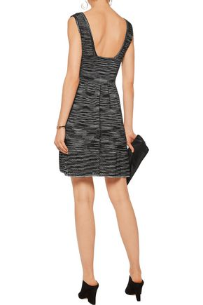 M MISSONI Open knit-paneled striped stretch-knit mini dress