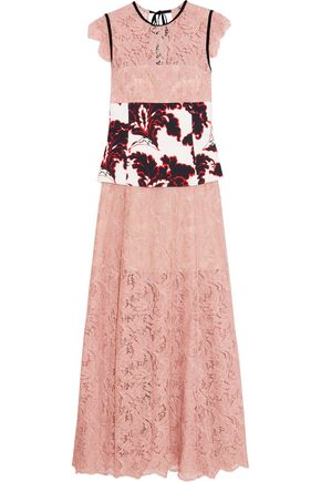 MSGM Velvet-trimmed corded-lace and crepe dress