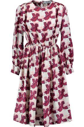 MSGM Printed silk-satin dress