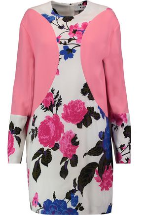 MSGM Paneled floral-print crepe dress