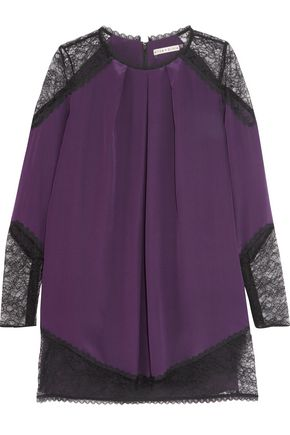 ALICE+OLIVIA Gracie lace-trimmed silk crepe de chine dress