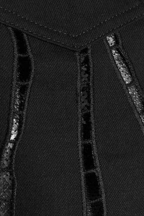 ROBERTO CAVALLI Cutout sequin-paneled denim jacket