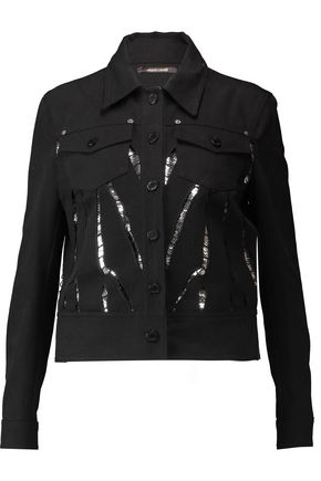 ROBERTO CAVALLI Cutout sequin-paneled denim jacket