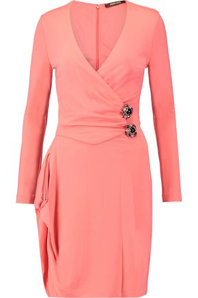 ROBERTO CAVALLI Embellished wrap-effect stretch-jersey mini dress