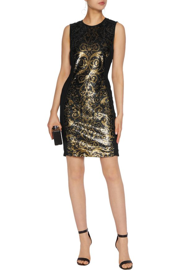Sequin-embellished crepe de chine mini dress | ROBERTO CAVALLI | Sale up to  70% off | THE OUTNET