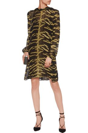 ROBERTO CAVALLI Open-back printed silk-chiffon mini dress