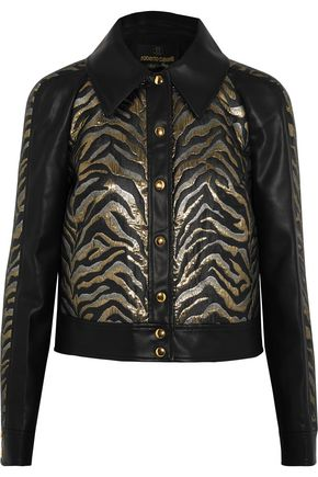 ROBERTO CAVALLI Lamé jacquard-paneled faux leather jacket