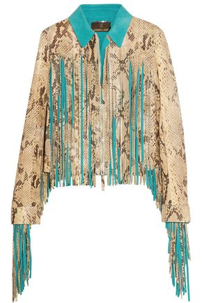 ROBERTO CAVALLI Fringed croc-effect leather jacket