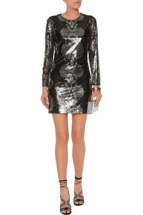 ROBERTO CAVALLI Sequinned silk mini dress