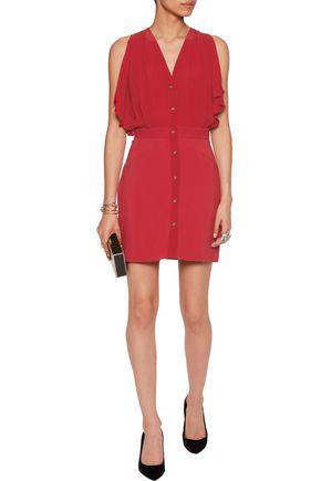 ROBERTO CAVALLI Ruffled silk-blend chiffon mini dress