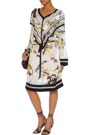 ROBERTO CAVALLI Pointelle knit-trimmed printed silk dress