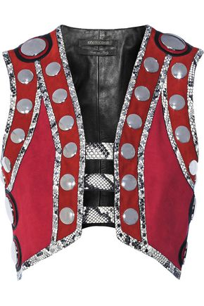 ROBERTO CAVALLI Embellished leather and elaphe-trimmed suede vest