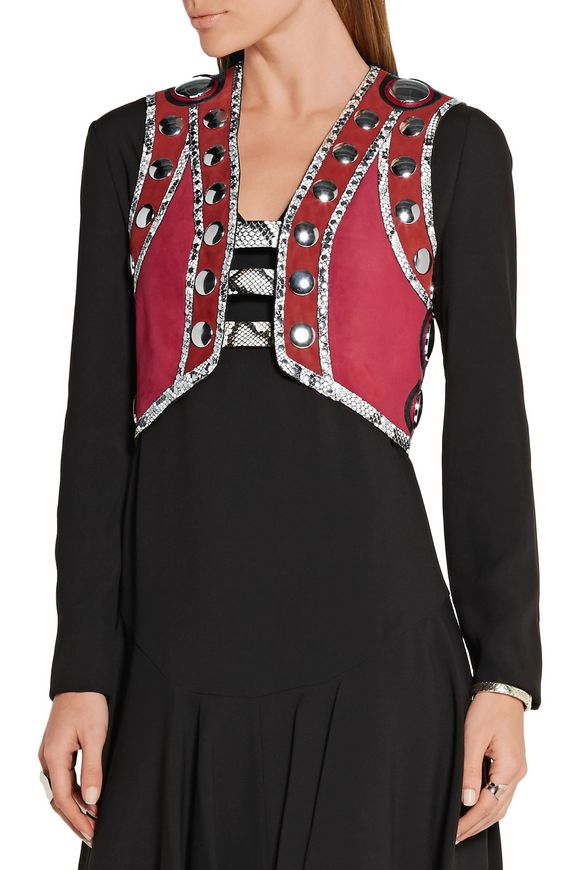 Embellished leather and elaphe-trimmed suede vest   ROBERTO CAVALLI   Sale  up to 70% off   THE OUTNET