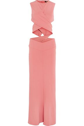 ROBERTO CAVALLI Cutout twist-front crepe maxi dress
