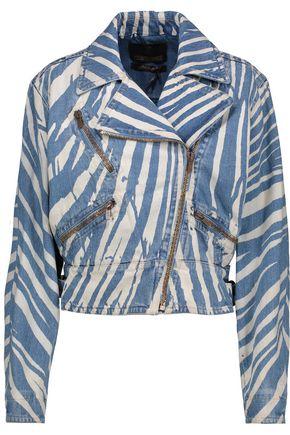 ROBERTO CAVALLI Zebra-print denim biker jacket