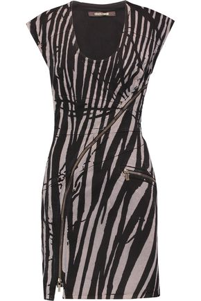 ROBERTO CAVALLI Tiger-print denim mini dress