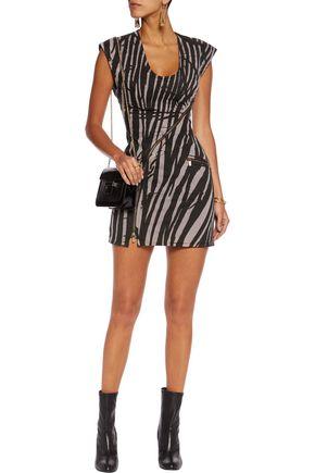 ROBERTO CAVALLI Tiger-print denim mini dress