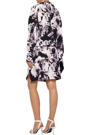 ROBERTO CAVALLI Belted printed silk mini dress
