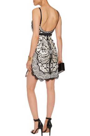 ROBERTO CAVALLI Lace-trimmed embellished silk mini dress