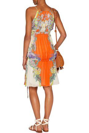 ROBERTO CAVALLI Lace-up printed silk-chiffon dress
