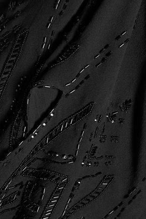 ROBERTO CAVALLI Asymmetric sequinned silk-chiffon top
