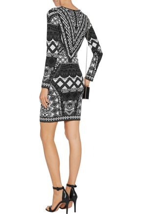 CAMILLA Intarsia-knit mini dress
