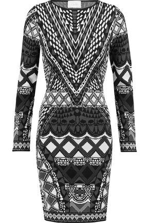 CAMILLA Intarsia-knit mini dress