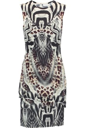 CAMILLA Layered printed stretch-knit mini dress