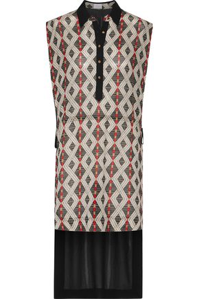 CAMILLA Asymmetric paneled printed crepe de chine shirt dress