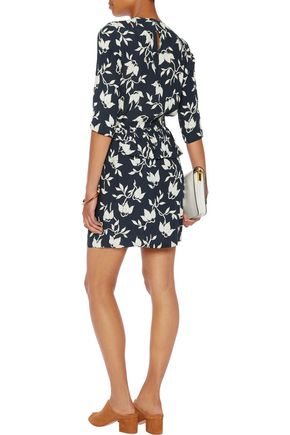 GANNI Pleated printed crepe mini dress