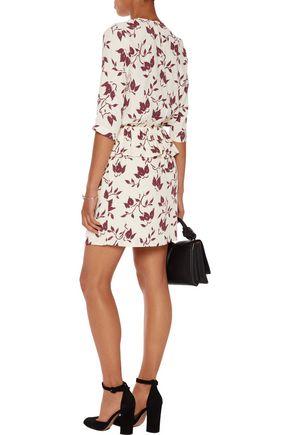 GANNI Pleated printed crepe mini dress
