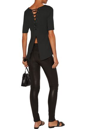 TART COLLECTIONS Naomie lace-up stretch-modal top