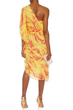 HALSTON HERITAGE One-shoulder crinkled printed silk-chiffon dress