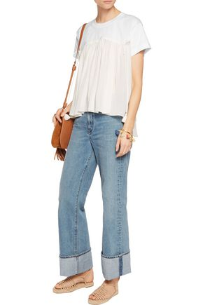 CHLOÉ Cotton jersey and tiered georgette top