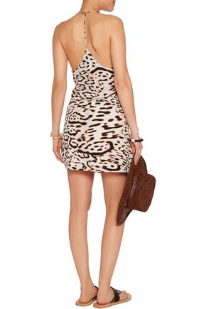 VIX Kim leopard-print silk crepe de chine mini dress