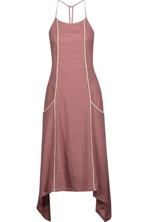 VIX Solid Cleo linen-blend midi dress