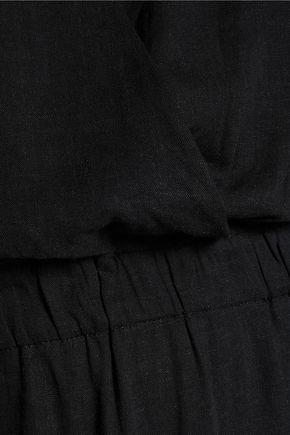 VIX Andrea faux leather-trimmed linen-blend maxi dress