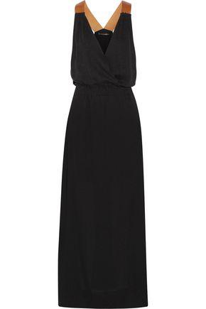 VIX PAULAHERMANNY Andrea faux leather-trimmed linen-blend maxi dress