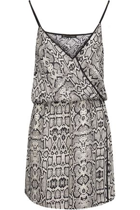 VIX Sphinx wrap-effect snake-print voile mini dress