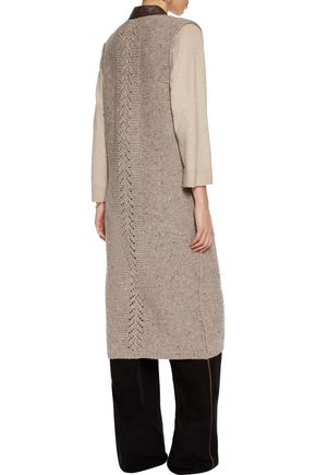 AGNONA Leather-trimmed wool and cashmere-blend cardigan
