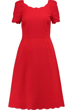 VALENTINO Scalloped silk and wool-blend twill dress