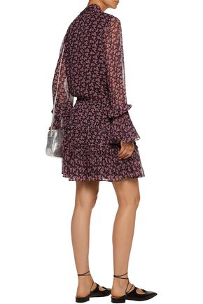 ALEXIS Elida gathered printed silk-georgette mini dress