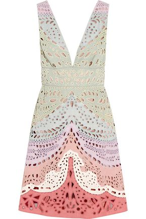 VALENTINO Embellished broderie anglaise linen mini dress