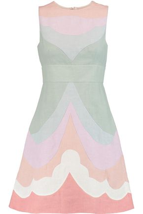 VALENTINO Paneled flax mini dress