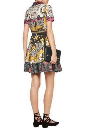 VALENTINO Pleated printed silk dress