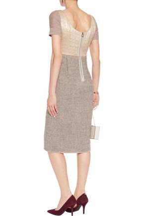 AGNONA Paneled metallic wool and wool-blend jacquard midi dress