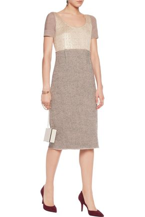 AGNONA Paneled metallic wool and wool-blend jacquard midi dress