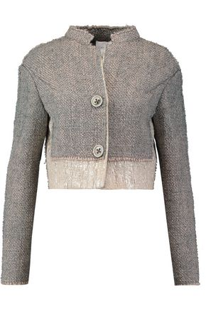 AGNONA Metallic wool-blend bouclé-tweed cropped jacket